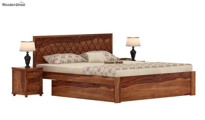 Montana Bed With Storage (King Size, Teak Finish)-1