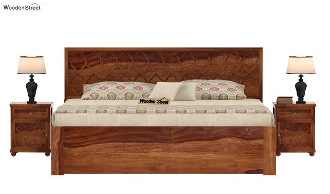 Montana Bed With Storage (King Size, Teak Finish)-2
