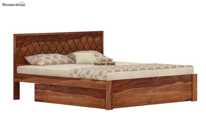 Montana Bed With Storage (King Size, Teak Finish)-3