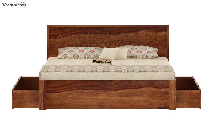 Montana Bed With Storage (King Size, Teak Finish)-6