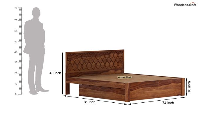 Montana Bed With Storage (King Size, Teak Finish)-8