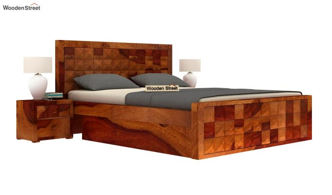 Morse Bed With Storage (Queen Size, Honey Finish)-1