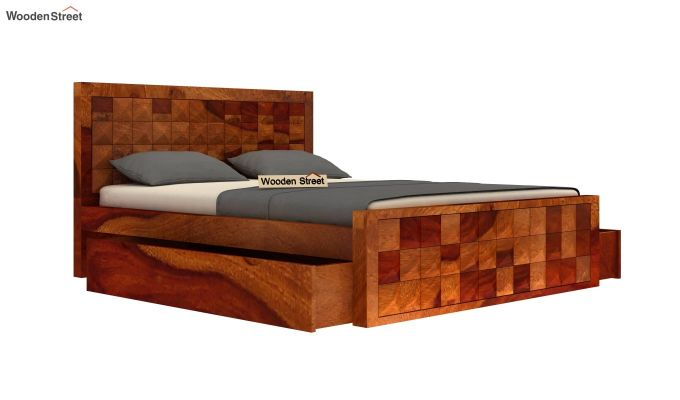 Morse Bed With Storage (Queen Size, Honey Finish)-3