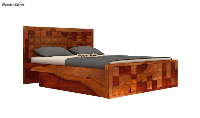 Morse Bed With Storage (Queen Size, Honey Finish)-4