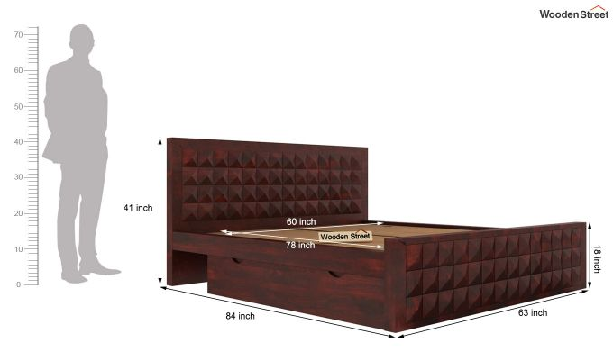 Morse Bed With Storage (Queen Size, Mahogany Finish)-6