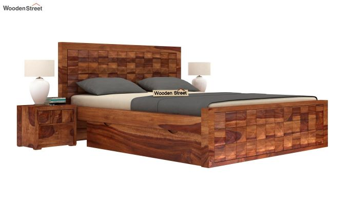 Morse Bed With Storage (Queen Size, Teak Finish)-2