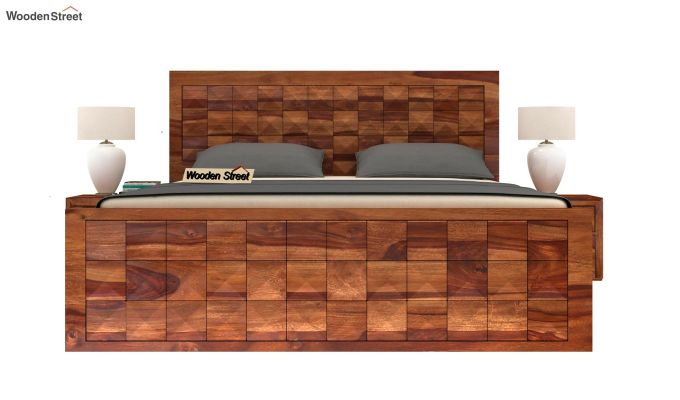 Morse Bed With Storage (Queen Size, Teak Finish)-3