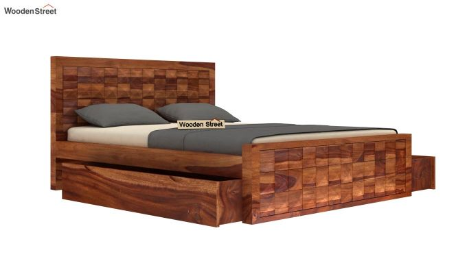 Morse Bed With Storage (Queen Size, Teak Finish)-4