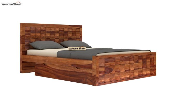 Morse Bed With Storage (Queen Size, Teak Finish)-5