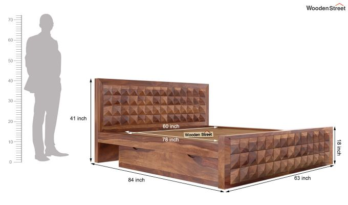 Morse Bed With Storage (Queen Size, Teak Finish)-7
