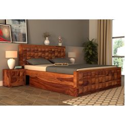 Morse Bed With Storage (Queen Size, Teak Finish)