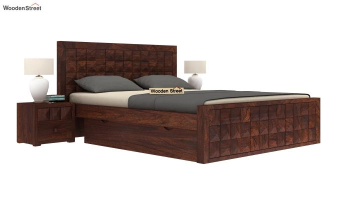 Morse Bed With Storage (Queen Size, Walnut Finish)-1