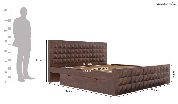 Morse Bed With Storage (Queen Size, Walnut Finish)-6