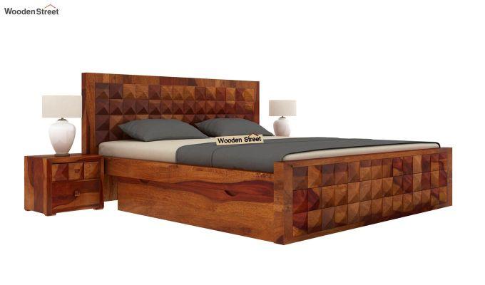 Morse Bed With Storage (King Size, Honey Finish)-1