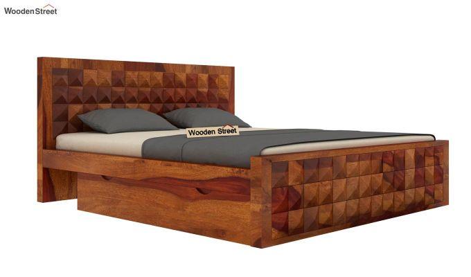 Morse Bed With Storage (King Size, Honey Finish)-3