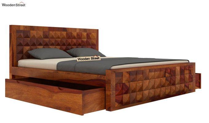 Morse Bed With Storage (King Size, Honey Finish)-4