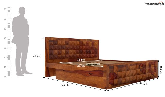 Morse Bed With Storage (King Size, Honey Finish)-6