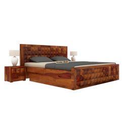 Morse Bed With Storage (King Size, Honey Finish)