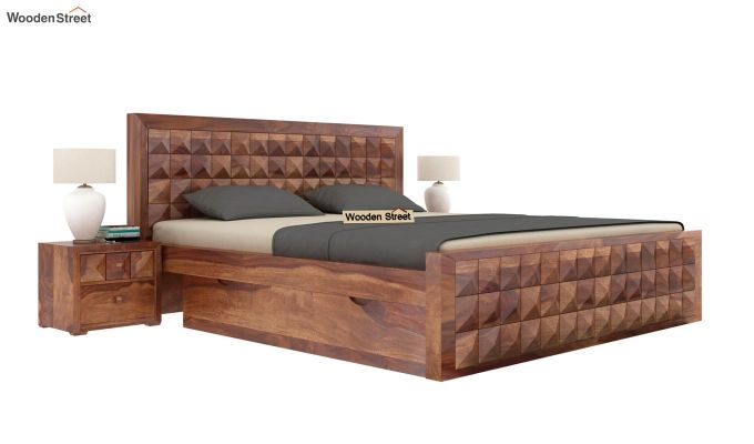 Morse Bed With Storage (King Size, Teak Finish)-2