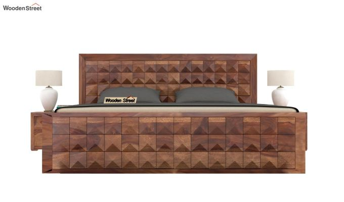 Morse Bed With Storage (King Size, Teak Finish)-3