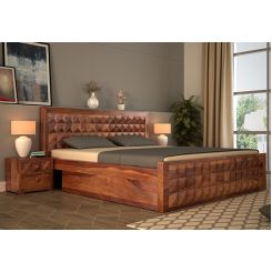 Morse Bed With Storage (King Size, Teak Finish)