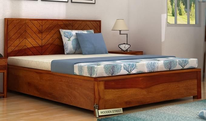 Neeson Hydraulic Bed (Queen Size, Honey Finish)-1