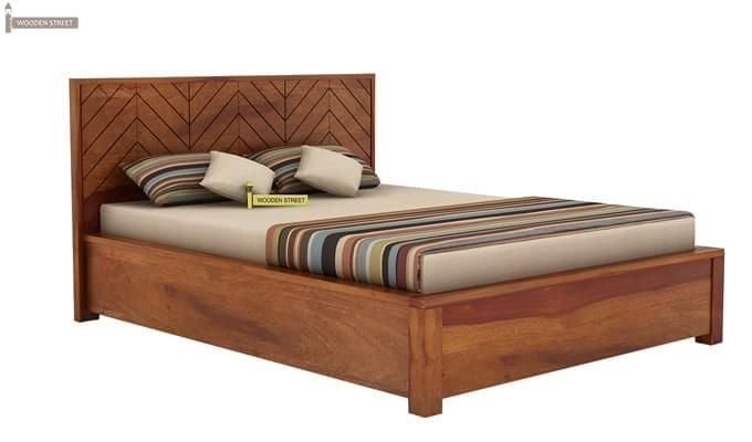 Neeson Hydraulic Bed (Queen Size, Honey Finish)-4