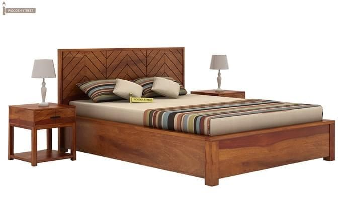 Neeson Hydraulic Bed (King Size, Honey Finish)-5