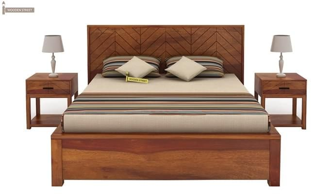 Neeson Hydraulic Bed (Queen Size, Honey Finish)-8