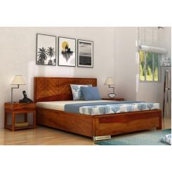Neeson Hydraulic Bed (King Size, Honey Finish)