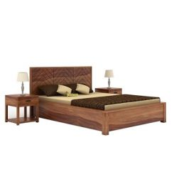 Neeson Hydraulic Bed (King Size, Teak Finish)
