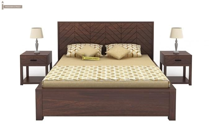 Neeson Hydraulic Bed (Queen Size, Walnut Finish)-2