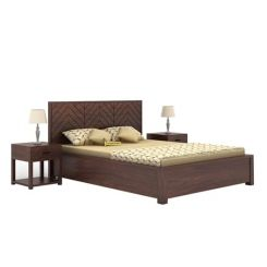 Neeson Hydraulic Bed (King Size, Walnut Finish)