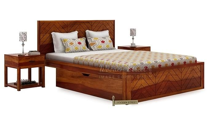 Neeson Bed With Storage (King Size, Honey Finish)-2