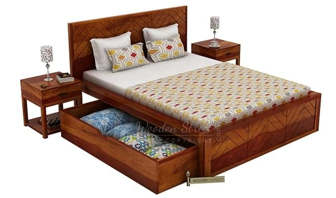 Neeson Bed With Storage (King Size, Honey Finish)-9