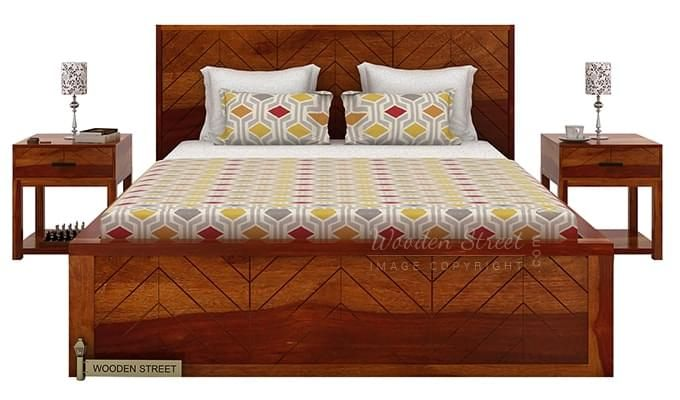 Neeson Bed With Storage (King Size, Honey Finish)-3
