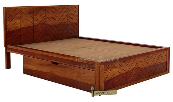 Neeson Bed With Storage (King Size, Honey Finish)-5