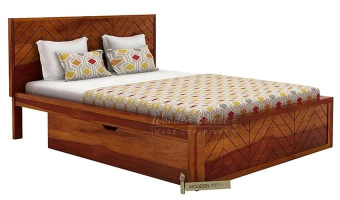 Neeson Bed With Storage (King Size, Honey Finish)-6