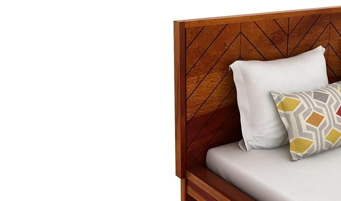 Neeson Bed With Storage (King Size, Honey Finish)-7
