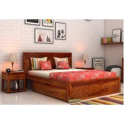 Neeson Bed With Storage (Queen Size, Honey Finish)