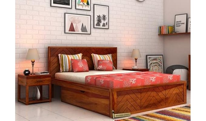 Neeson Bed With Storage (King Size, Honey Finish)-1