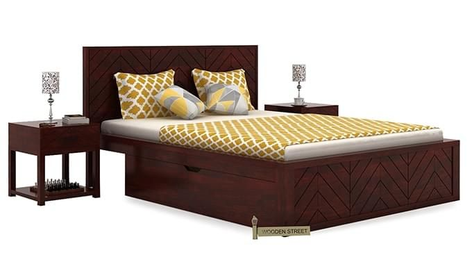 Neeson Bed With Storage (King Size, Mahogany Finish)-1