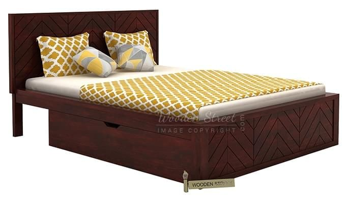 Neeson Bed With Storage (King Size, Mahogany Finish)-4