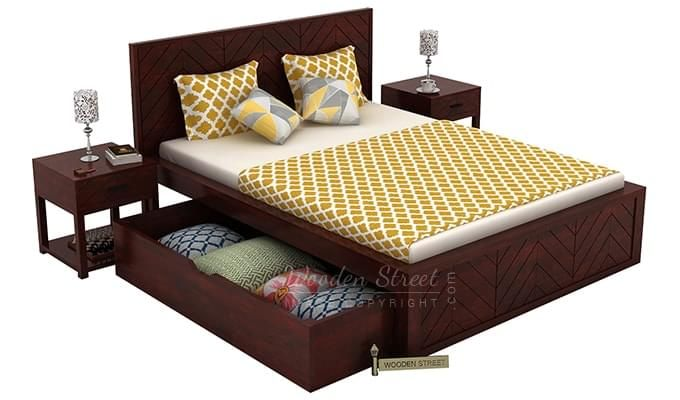 Neeson Bed With Storage (King Size, Mahogany Finish)-6