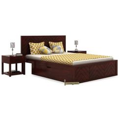 Neeson Bed With Storage (King Size, Mahogany Finish)