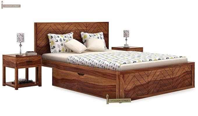 Neeson Bed With Storage (Queen Size, Teak Finish)-1
