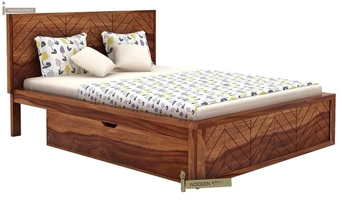 Neeson Bed With Storage (Queen Size, Teak Finish)-4