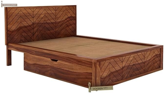 Neeson Bed With Storage (Queen Size, Teak Finish)-5