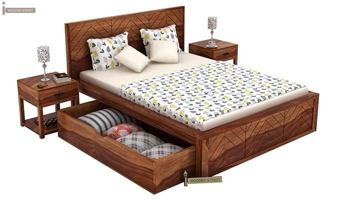 Neeson Bed With Storage (Queen Size, Teak Finish)-6