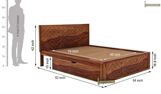 Neeson Bed With Storage (Queen Size, Teak Finish)-10